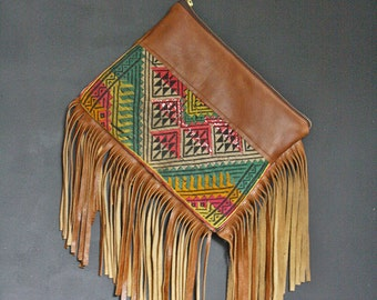Leather Fringe Bag. Boho Fringe Bag. Tribal Bag. Clutch with Strap.