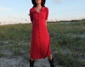Prairie Button Front Simplicity Below Knee Dress - ( light hemp and organic cotton knit ) - Organic Cotton Dress