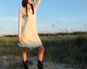 Prairie Button Front Simplicity Short Dress - ( light hemp and organic cotton knit ) - Organic Dress