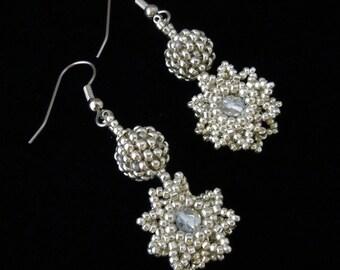 Star Beaded Snowflake, Seed Bead Earrings, Silver Earrings, Snowflake Earrings, Evening Earrings , Wedding Earrings, Bridal Earrings