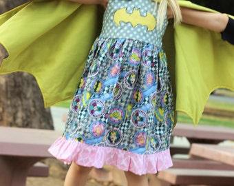 Bat Girl  Dress, DRESS ONLY, ls batman dress, me, super hero dress, wonder woman dress, toddler batman dress, Costume