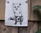 Red Fox Silk Screen Print Patch on cotton canvas Original Illustration Black Ink White Fabric