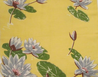 Vintage Collectible Handkerchief - Irish Linen - Water Lilies/ Frog