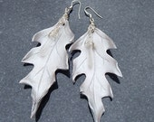 Silver Oak and Quartz - Sculpted Leather Leaf Earrings with Sterling Silver and Crystals