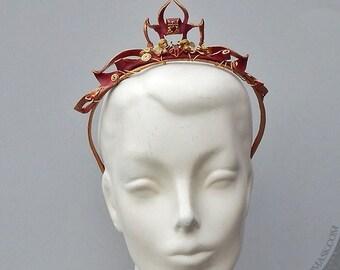 Scarlet Filigree Leather Tiara with Brass Spirals and Vintage Rhinestones