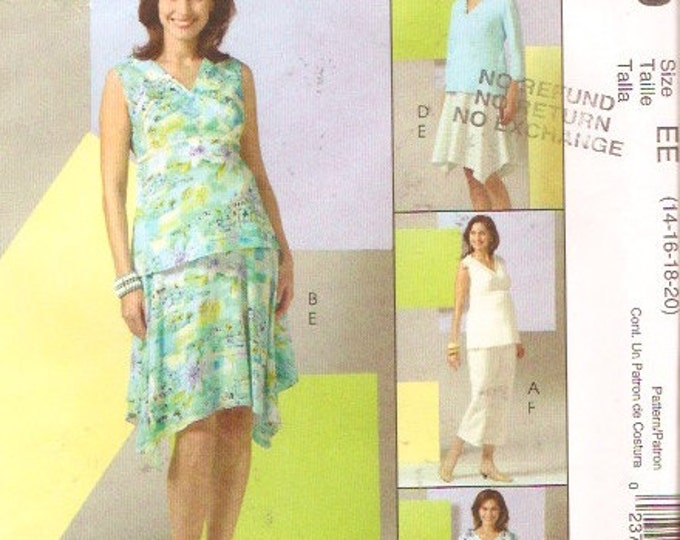 Modern Maternity Wardrobe sewing pattern tops pants and skirt McCalls 4880 Easy Sz 14 to 20 UNCUT