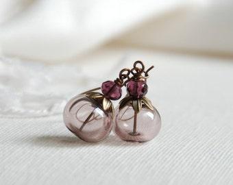 Hollow Glass Earrings, Long Dangle Earrings, Sienna Earrings, Pastel Wedding Jewelry, Romantic Jewelry, Romantic Earrings, Bride Earrings