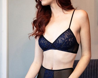 Gabriella bralette- retro triangle bra in navy blue french lace, crossover soft cup wirefree wireless bralet, vintage inspired lingerie