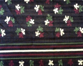 1970's maple leaf and stripe border print silky flowy jersey and black, burgundy red, sage green, and tan, extra wide, 2 1/2 yards available