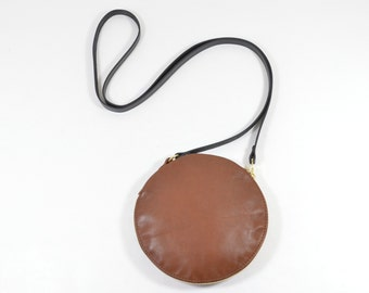 Cici - Handmade Tan Brown Leather Round Shoulder Bag Zip Pouch Purse