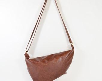 Aimee - Burgundy Brown Leather Shoulder Bag Handmade