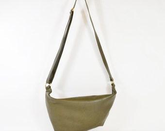 Aimee - Olive Green Leather Shoulder Bag Handmade