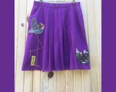 ON SALE! Happy Family Size M - Birds - Upcycled Skirt,  upcycled, recycled, repurposed, wearable art, fall winter womens clothing, vintage