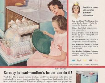 Frigidaire, 1950 kitchen, Vintage Print Ad, pink kitchen decor, dishwasher, retro appliances, Original Advertising, General Motors