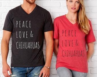 Peace Love & Chihuahuas UNISEX tri blend V neck shirt screenprinted Mens Ladies