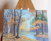 Vintage Landscape Oil Painting, Field and River Scene, signed J Cole