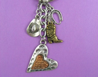 Western Cowgirl Country Horse Lover Keychain