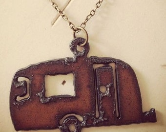 READY TO SHIP Large Airstream Camper Rusty Rustic Recycled Aged Metal Pendant Glamping Charm Necklace