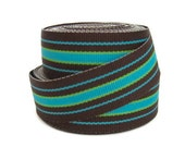"7/8"" Striped Grosgrain Ribbon by the Yard / Brown Aqua Lime Green Striped Ribbon / Hair Bow Supplies / Preppy Ribbon"