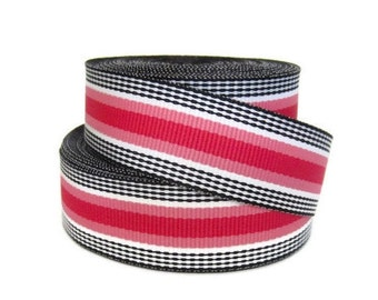 "7/8"" Striped Grosgrain Ribbon by the Yard / Pink Black White Striped Ribbon / Hair Bow Supplies / Preppy Ribbon"