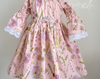 Peasant dress, Olivia, size 4T, ready to ship, one of a kind