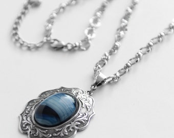 Blue and Silver Victorian Style Necklace, Striped Blue Glass Stone, Antiqued Silver Necklace, Blue Necklace, SRAJD, JewelryFineAndDandy