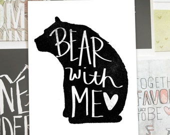 Bear With Me- Beautifully textured cotton canvas art print. Order as an 8x10 11x14 or 16x20 size.