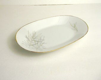 Rosenthal Continental Grasses Mid Century Modern Small Oblong Platter Neutral Delicate Line Drawings MCM