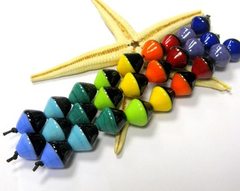 SMAUGGS handmade beadset BICONES (9p, 13x14mm), glass, black, colorful, hole 2mm