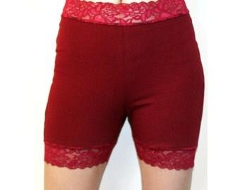 High-Waist Burgundy Stretch Lace Shorts dark red maroon plus size high waisted goth bike shorts XS S M L XL 2XL 3XL gothic High Waist cotton