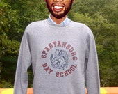 vintage 80s sweatshirt SPARTANBURG day school private rayon tri-blend heathered gray Medium Large