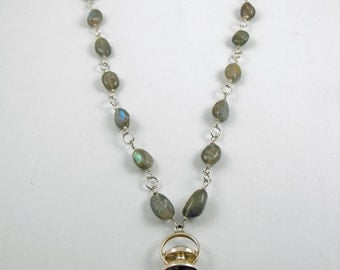 Sapience . Amethyst, Moonstone, labradorite and Sterling Silver Scrying Necklace