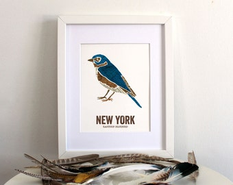 New York State Bird, Nature art, Outdoor art, Vintage Map art, Art print, Wall decor, Rustic Nursery, Map prints - Eastern Bluebird