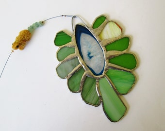Frog Spawn - Large Stained Glass Flower Suncatcher with Agate Center, Lime Green Petals, Carved Frog Bead, Pearls