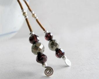Garnet Earrings Pyrite Mixed Metals Avant Garde Jewelry January Birthstone Metaphysical Healing Stones