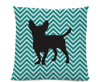 Chevron Chihuahua Pillow - Chihuahua Silhouette Pillow - Dog Breed Pillow - Teal White Chevron - dog home decor - Chevron Pillow