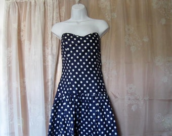 Vintage Strapless Blue and White Drop waist Party Dress size 8-10