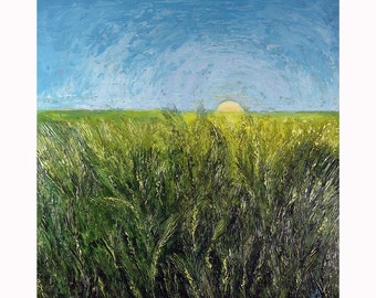 Sun-Kissed Harvest - Original Abstract Landscape Painting - End time Harvest Series - 24x24x1.75 inch cradled wood panel