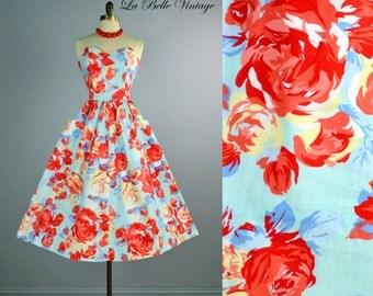 Roses are Red ~ Vintage Strapless Summer Floral Sun Dress S M ~ Full Skirt