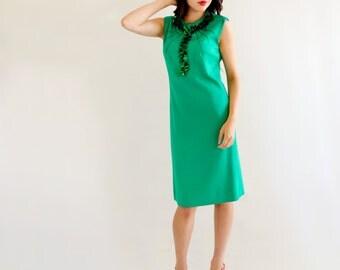 Emerald Green Vintage 60s Cocktail Party Dress Sequin Paillettes S M