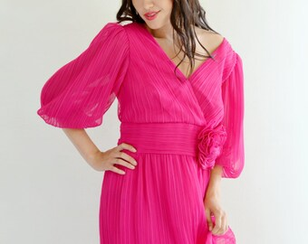 Hot Pink Miss Elliette Pleated Maxi Dress Vintage 80s Long Holiday Party M L