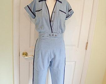 Vintage 1950's Woman's Baby Blue Cabana Pants Capri Ensemble XSmall