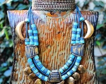 Tribal Necklace, Brass Necklace, Blue Necklace, Statement Necklace, Ceramic Beads, Afropunk, Nandi Brass Ceramic Bead Statement Necklace V2