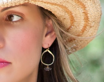 Herkimer Diamond Gemstone earrings Hammered Hoops Gift for her Under 100 Vitrine