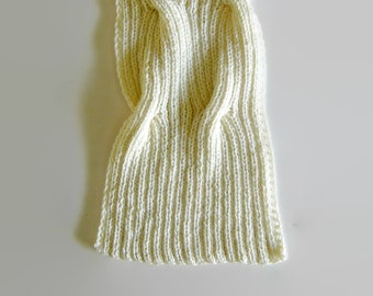 Scarf Knit in Ivory White Wool - Shawl - Waves Cables - Man - Woman
