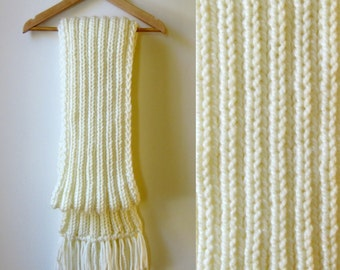 Ivory White Wool Chunky Knit Scarf with Fringes, Long Mens Scarf, Womens Scarves, Winter, Shawl, Hand Knit Scarf, Wrap Scarf, Neck Warmer