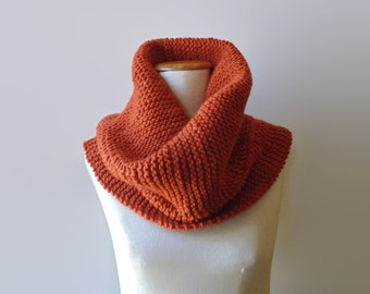 Orange Chunky Knit Cowl, Knit Snood, Hand Knit Womens Wool Cowl, Wrap Men Chunky Scarf, Tube Scarf, Loop Scarf, Neck Warmer, Ready to Ship