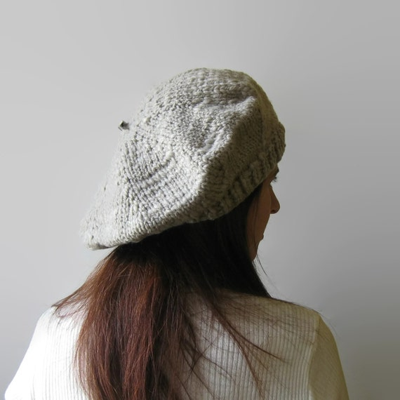 beige wool knit beret winter chunky knit hat womens