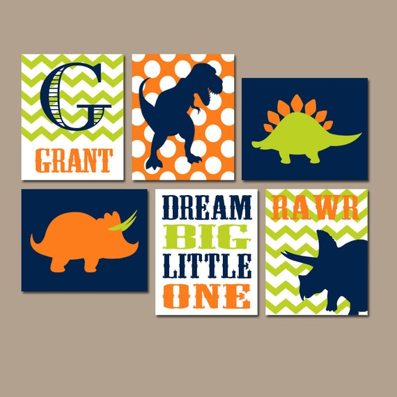 Wall Art Canvas Or Prints Boy DINOSAUR Decor Baby Boy Nursery Wall