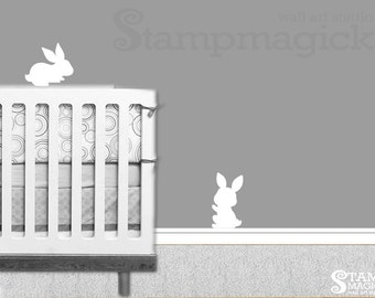 Rabbit Wall Decal Sticker for Baby Nursery - Cute Bunnies Vinyl Wall Decor Stickers - K271